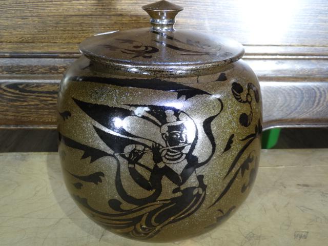 剪纸贴花仿古铜飞天纹茶叶罐
