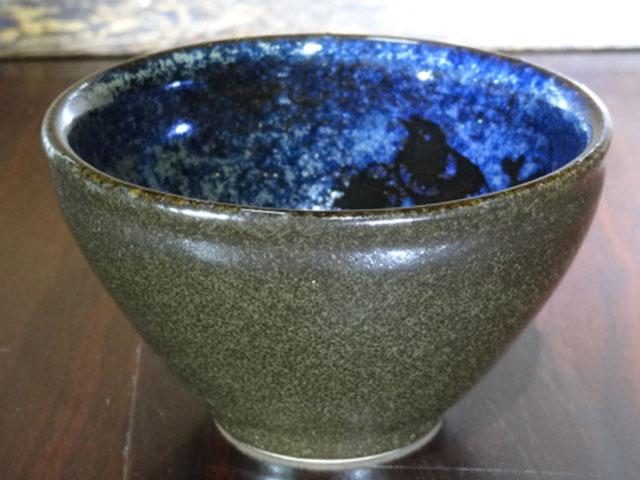 窑变蓝彩茶碗